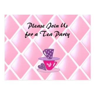 Stacking Teacups Tea Party Invitation Postcard