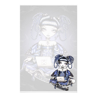 """Stacy"" Cute Blue Lap Top Fairy Art Stationery"