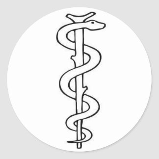 Staff of Asclepius Classic Round Sticker