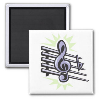 staff treble cleft music note design square magnet