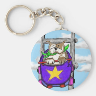 Staffie Smiles - ROLLERCOASTER - key ring Basic Round Button Key Ring