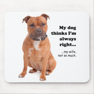 Staffie v Wife Mousepad
