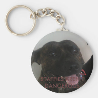 STAFFIES AREN'T DANGEROUS BASIC ROUND BUTTON KEY RING