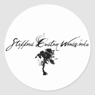 Stafford Custom Woodworks Logo Black & White Classic Round Sticker