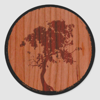Stafford Custom Woodworks Tree Logo Classic Round Sticker