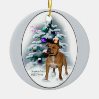 Staffordshire Bull Terrier Christmas Gifts Ceramic Ornament