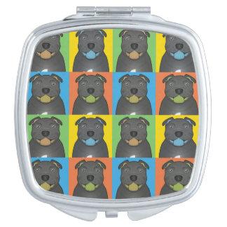 Staffordshire Bull Terrier Dog Cartoon Pop-Art Makeup Mirror