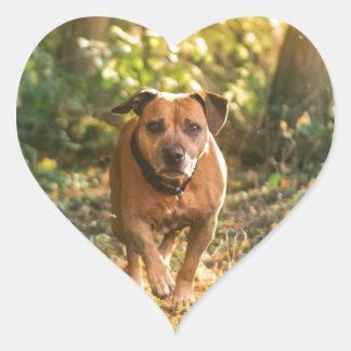 Staffordshire bull terrier heart sticker