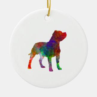 Staffordshire Bull terrier in watercolor Ceramic Ornament