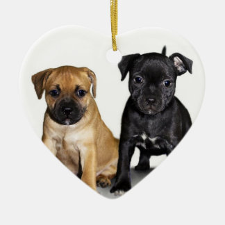 Staffordshire bull terrier puppies ornament