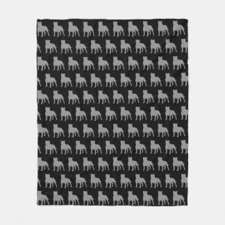 Staffordshire Bull Terrier Silhouettes Pattern Fleece Blanket