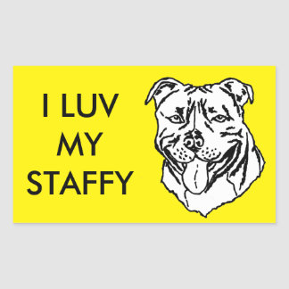 Staffordshire Bull Terrier STAFFY Rectangular Sticker