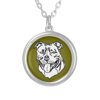 Staffordshire Bull Terrier STAFFY Silver Plated Necklace