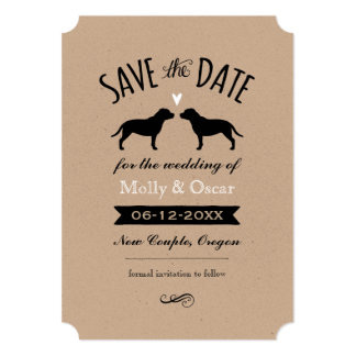 Staffordshire Bull Terriers Wedding Save the Date Card