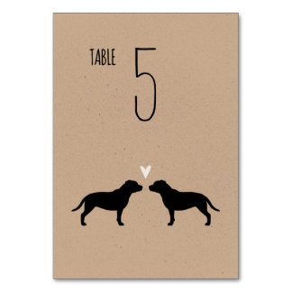 Staffordshire Bull Terriers Wedding Table Card