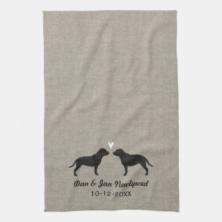 Staffordshire Bull Terriers with Heart and Text Tea Towel
