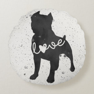 Staffordshire Terrier Love Watercolor Silhouette Round Cushion