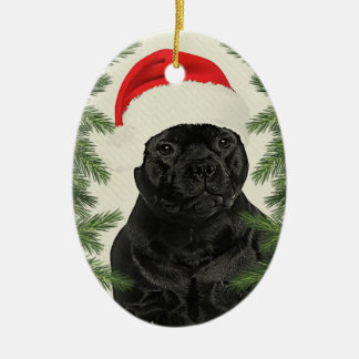 Staffordshire Terrier Vintage Style Christmas Ceramic Ornament