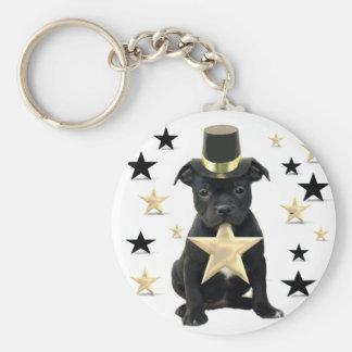 Stafforfshire bull terrier puppy basic round button key ring