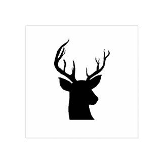 Stag Antler Rustic Country Drawing Rubber Stamp