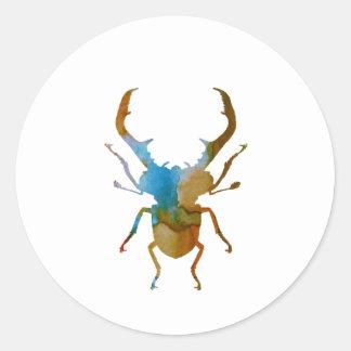 stag beetle round sticker