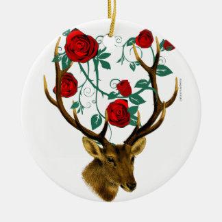 Stag Deer Antlers Roses Vines Vintage Christmas Ceramic Ornament