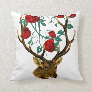 Stag Deer Antlers Roses Vines Vintage Christmas Cushion