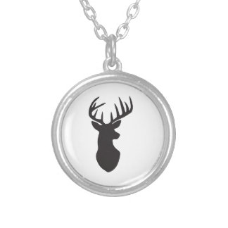 Stag Deer Head Silhouette Silver Plated Necklace