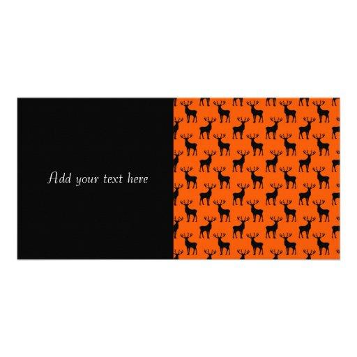 Stag Deer on Bright Orange Custom Photo Card