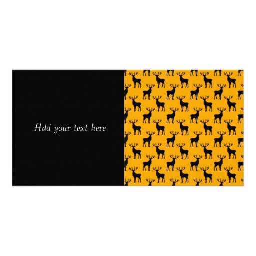 Stag Deer Pattern on Bright Yellow Custom Photo Card