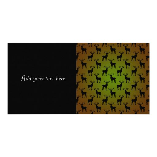 Stag Deer Pattern On Green Brown Photo Cards