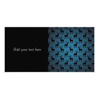 Stag Deer Silhouette on Blue Photo Card