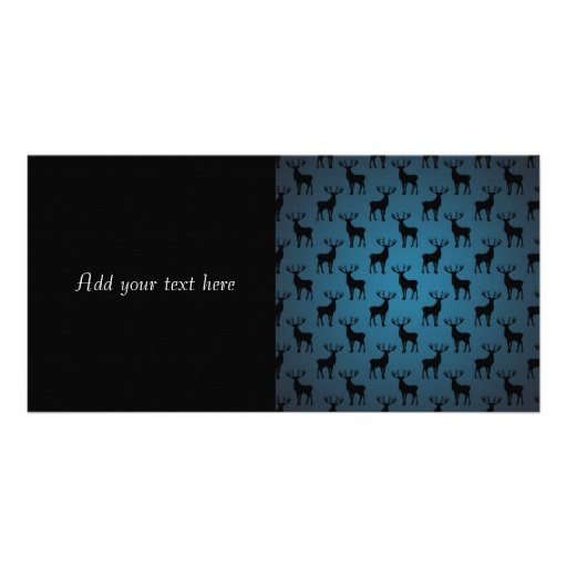 Stag Deer Silhouette on Blue Personalized Photo Card