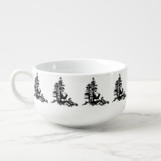 Stag Deer Tree Forest Animal Silhouette Nature Art Soup Bowl With Handle