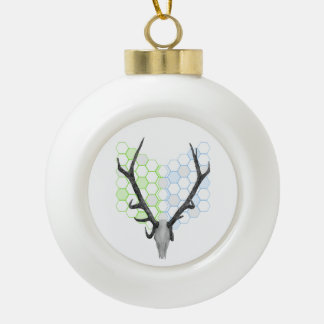 Stag Deer Trophy Antlers Ceramic Ball Christmas Ornament