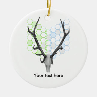 Stag Deer Trophy Antlers Honeycomb Pattern Ceramic Ornament