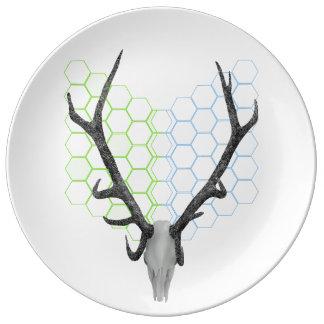 Stag Deer Trophy Antlers Porcelain Plates