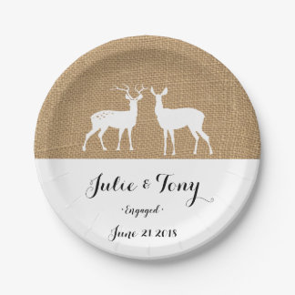 STAG & DEER WEDDING party paper plates
