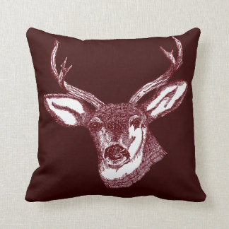 stag head argyle pattern pillow