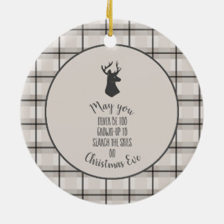 Stag Head on Beige and Black Plaid Ceramic Ornament