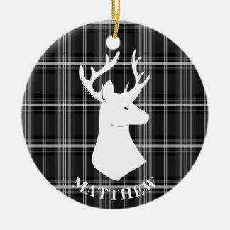 Stag Head on Black and White Plaid Ceramic Ornament
