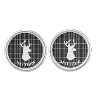 Stag Head on Black and White Plaid Cufflinks
