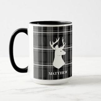 Stag Head on Black and White Plaid Mug