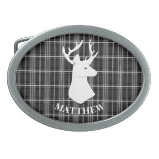Stag Head on Black and White Plaid Oval Belt Buckles