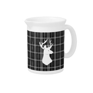 Stag Head on Black and White Plaid Pitcher