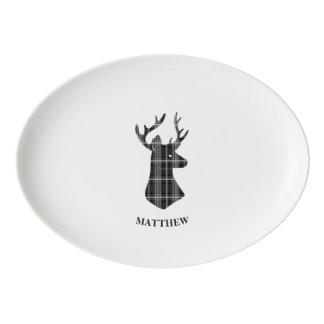 Stag Head on Black and White Plaid Porcelain Serving Platter