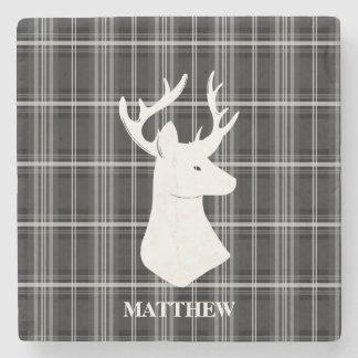 Stag Head on Black and White Plaid Stone Coaster