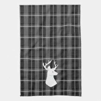 Stag Head on Black and White Plaid Tea Towel