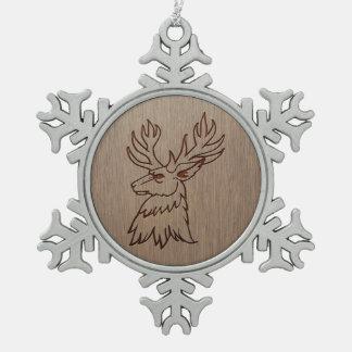 Stag illustration engraved on wood design pewter snowflake decoration