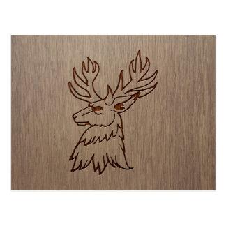 Stag illustration engraved on wood design postcard